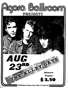 Alley Cats at the Agora Ballroom in Houston, TX, likely 1981, provided by Doug. D