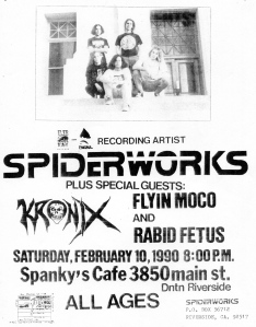 Spiderworks, Lyin Moco, Rabid Festus, and Kronix at Spanky's in Riverside