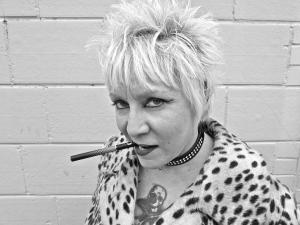 Lisa Pifer aka: Lisafer of U.X.A., 45 Grave, Nina Hagen, D.I., Snap-her, and Lisafer, Vinal  Houston, TX, photo by David Ensminger, Dec. 2014