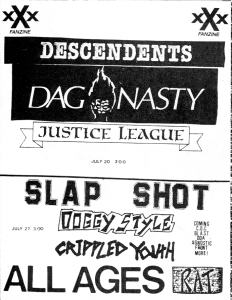 Dag Nasty and the Descendents at the Rat, Boston, 1980s, from North East Punk Flyers, 1983